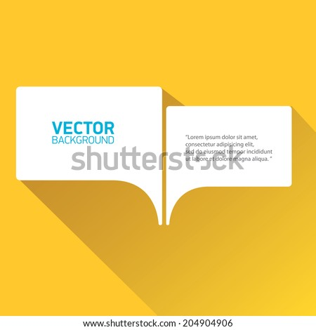 vector flat white paper speech bubble on orange background - stock vector