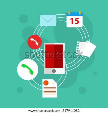 Vector flat workplace illustration with mobile phone and other elements - stock vector