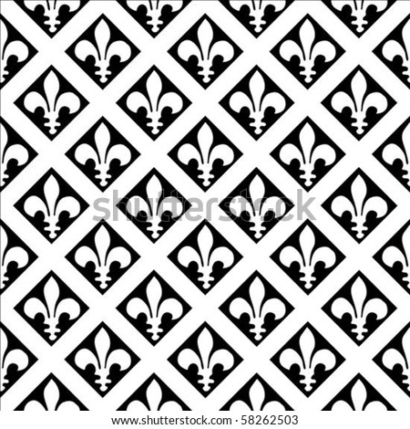 Vector fleur de lys pattern. Seamless tile included. Easy to change colors. - stock vector