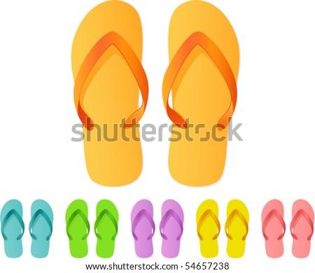 Vector- Flip Flops - stock vector