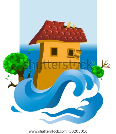 Vector flooded house - stock vector