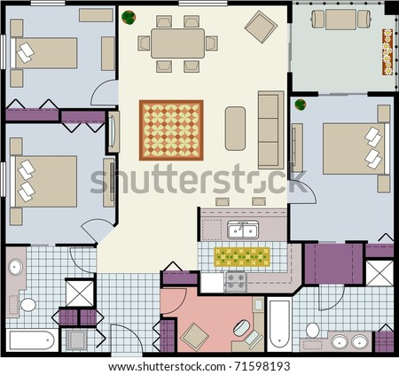 Vector-Floor plan of three-bedroom condo with den and furniture - stock vector