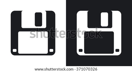 Vector floppy disk icon. Two-tone version on black and white background - stock vector