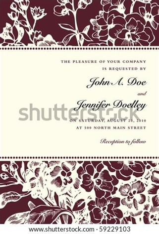 Vector floral background and frame with sample text. Perfect as invitation or announcement. Pattern is included as seamless swatch. All pieces are separate. Easy to change colors. - stock vector