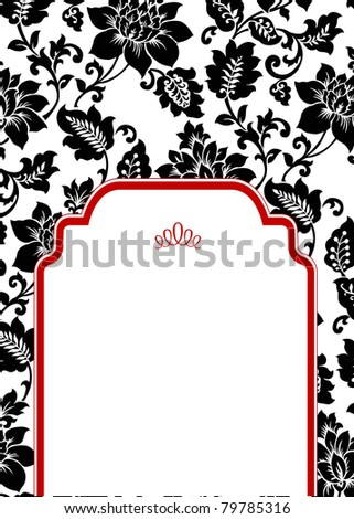 Vector Floral Background and Red Half Frame. Easy to edit. Perfect for invitations or announcements.