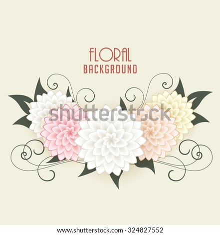 Vector Floral background, greeting cards with flowers - stock vector