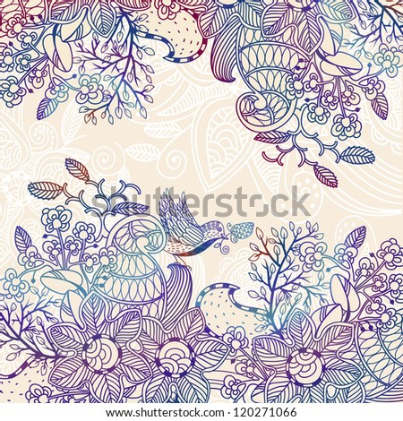 vector floral background with a lacy hand drawn ornament