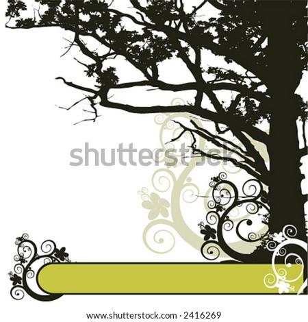 Vector Floral Background with a tree and frame - stock vector