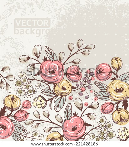 vector floral background with blooming vintage flowers - stock vector