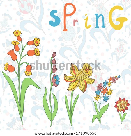 """Vector floral background with different beautiful flowers and word """"Spring"""" - stock vector"""