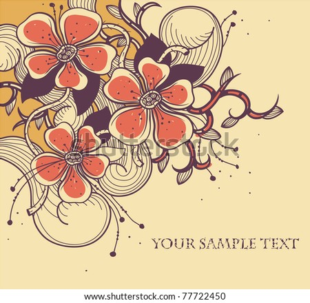 vector floral background with fantasy blooming flowers and swirls - stock vector