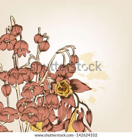 Vector floral background  with flowers  for your design - stock vector