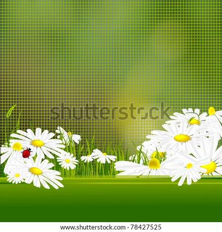 vector floral background with mosaic, flowers and copy space
