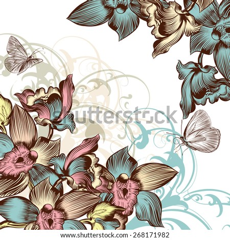Vector floral background with orchids - stock vector