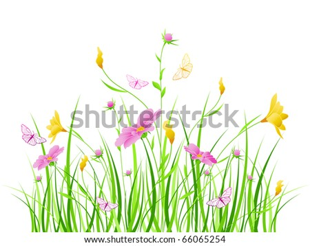 vector floral background with pink and yellow flowers - stock vector