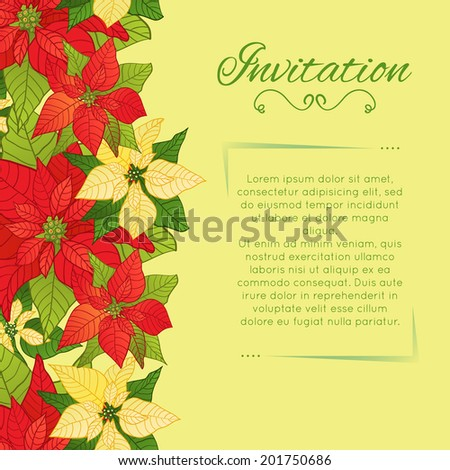 Vector floral background with Poinsettia, eps10 - stock vector