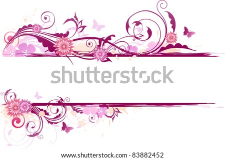 vector floral background with red flowers and ornament - stock vector