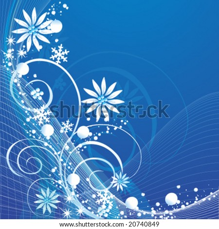 vector floral background with snow flake - stock vector