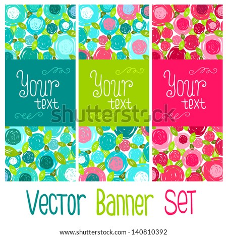 Vector floral banner set. Background with flowers with place for your text. Invitation to party. - stock vector
