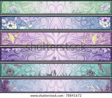 Vector floral banners collection - stock vector