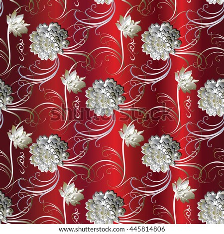 Vector floral baroque seamless pattern with blooming flowers in victorian style.Elegant red luxury texture for wallpapers, backgrounds and page fill. 3D elements with shadows and highlights. Paper cut - stock vector