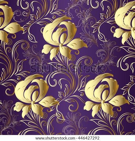 Vector floral baroque seamless pattern with blooming magnolias in victorian style.Elegant luxury texture for wallpapers, backgrounds and page fill. 3D elements with shadows and highlights. Paper cut. - stock vector