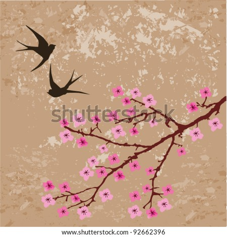 vector floral branch and swallows on grunge background - stock vector