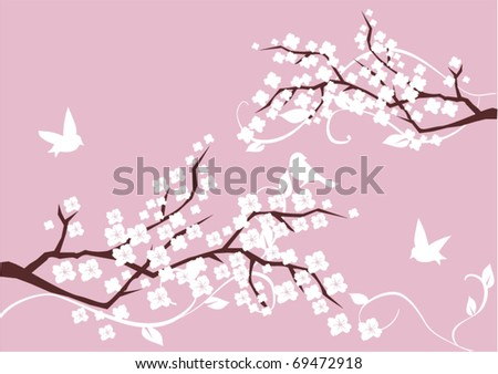 vector floral branches with white birds