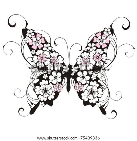 Vector floral butterfly - stock vector