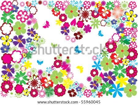 vector floral butterfly frame