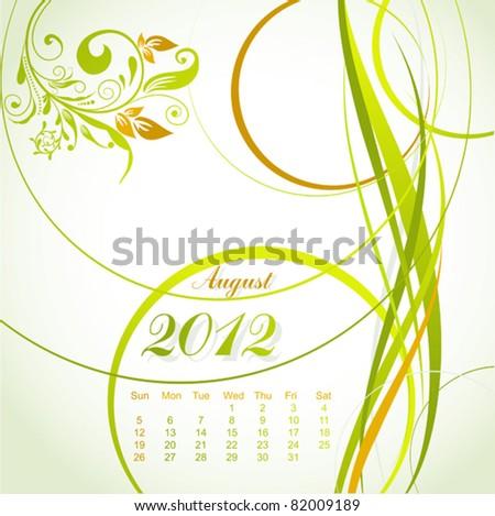 Vector floral calendar 2012, august, illustration - stock vector