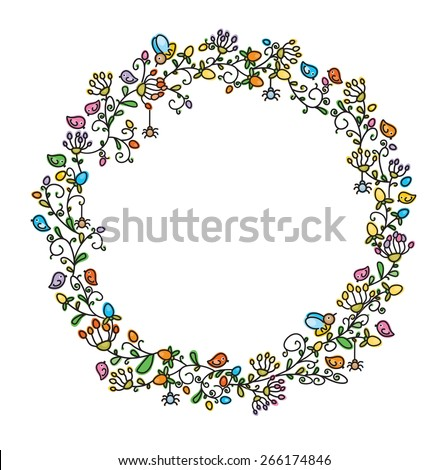 Vector floral  circle frame. - stock vector