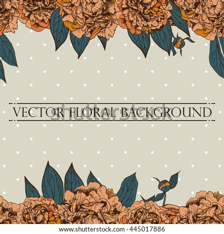 Vector floral composition. Vintage peony background. Floral elements for design invitations, greeting cards, wedding cards. - stock vector