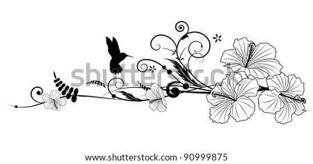 Vector floral composition with hibiscus in black and white colors - stock vector