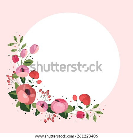 Vector floral corner with peonies - stock vector