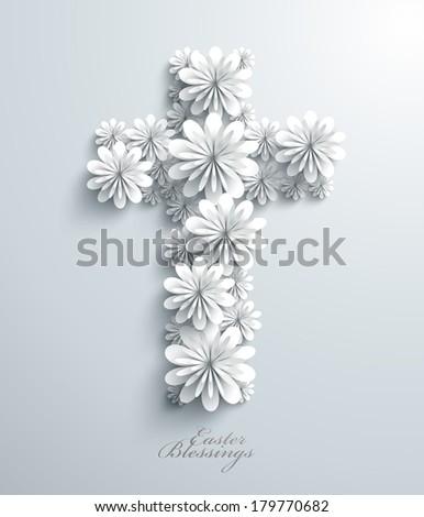 Vector Floral Cross - stock vector