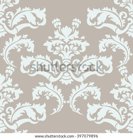 Vector floral damask pattern background. Royal Victorian texture. Classical luxury vintage damask ornament for wallpaper, textile, fabric, wrapping. Delicate floral baroque. Beige and mint color  - stock vector