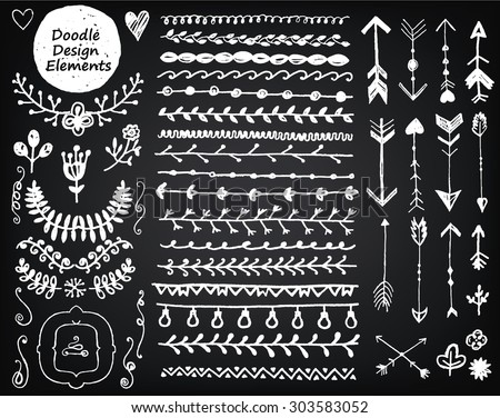 vector floral decor set, collection of hand drawn doodle frames, dividers, borders, arrows design elements. Isolated on blackboard dark background. For wedding invitations, birthday cards, banners - stock vector