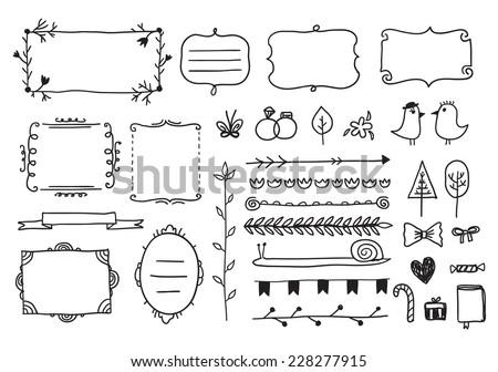 Vector Floral Decor Set Hand Drawn Stock Vector 228277915