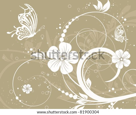 vector floral decorative abstract background with butterfly - stock vector