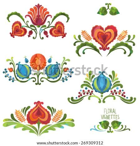 Vector floral decorative elements - stock vector