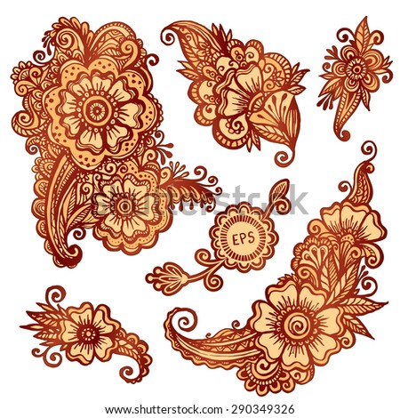 Vector floral decorative elements set in Indian mehndi style - stock vector
