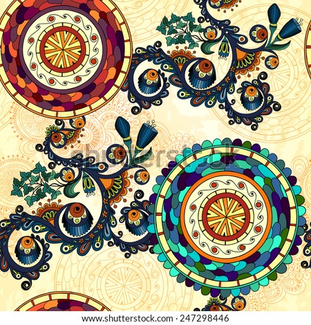 Vector floral decorative paisley ethnic background. Seamless pattern with mandala and doodle design elements. - stock vector