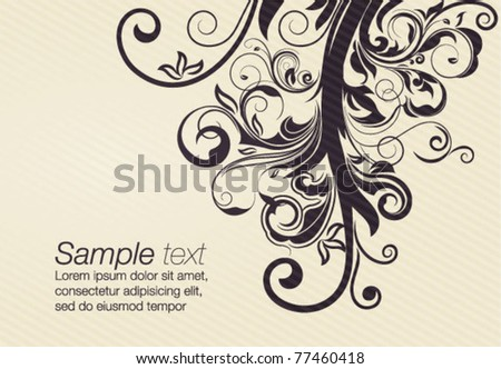 vector floral design element with space for text - stock vector