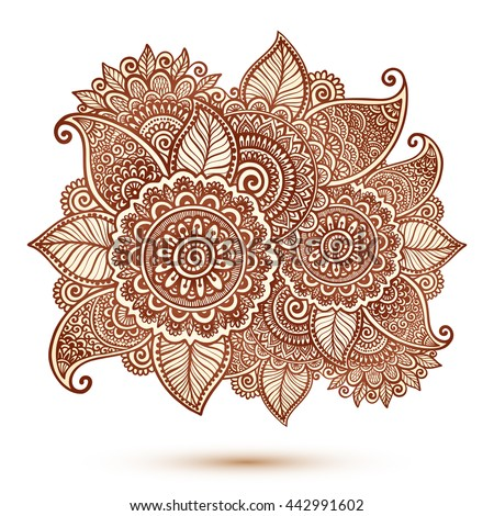 Vector floral element in Indian mehndi henna tattoo style - stock vector