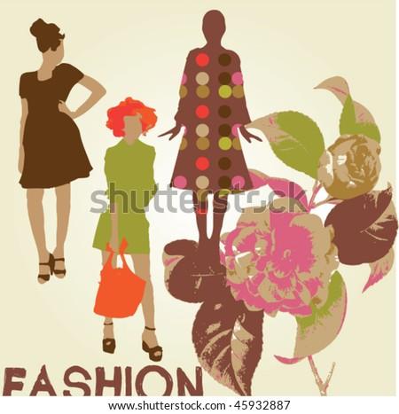 vector floral fashion women - stock vector