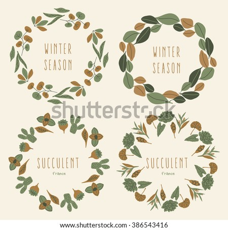 Vector Floral Frame Collection. Set Of Floral Wreaths illustration - stock vector
