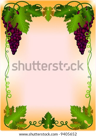 Vector Floral Frame with Grapes