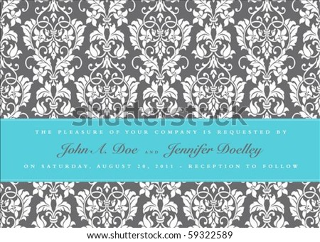 Vector floral frame with sample text and borders. Perfect as invitation or announcement. All pieces are separate. Easy to change colors and edit.