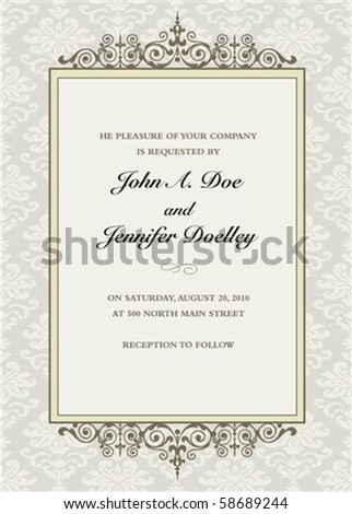 Vector floral frame with sample text. Perfect as invitation or announcement. Pattern is included as seamless swatch. All pieces are separate. Easy to change colors. - stock vector
